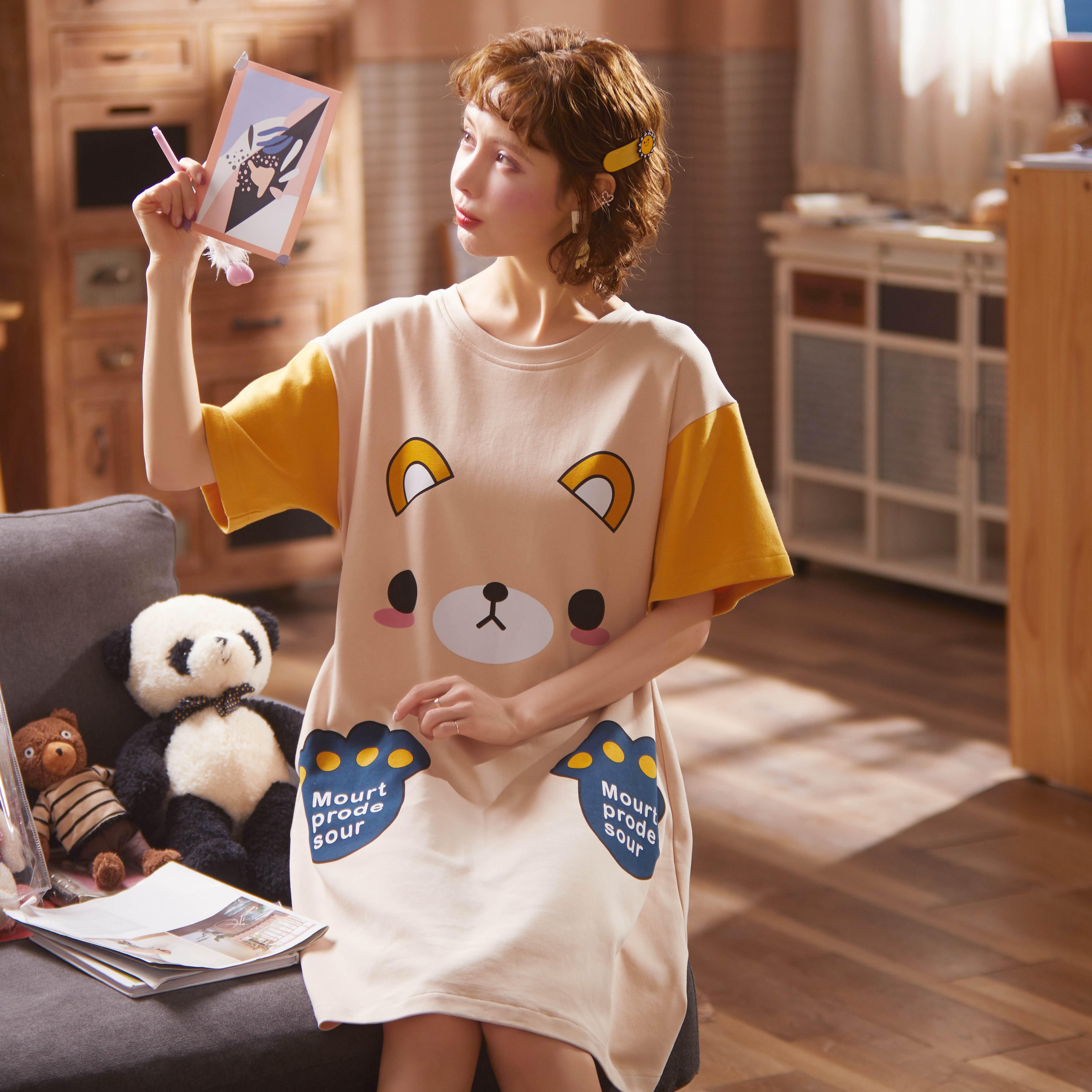 Image 4 - 2020 Summer Night Dress Women Plus Size Nightgown Cartoon Print Sleepshirts Short sleeves Nightie Nightdress Cotton SleepwearNightgowns & Sleepshirts   -