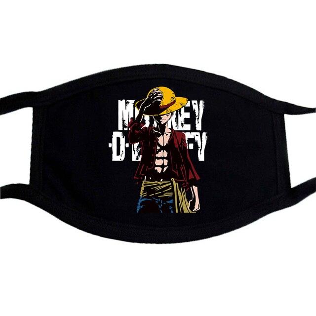 One Piece Mouth Mask Japnese Harajuku Streetwear Face Anime Maske Washable Black Keep Warm Mouth-Muffle Reusable Mask Kpop 3