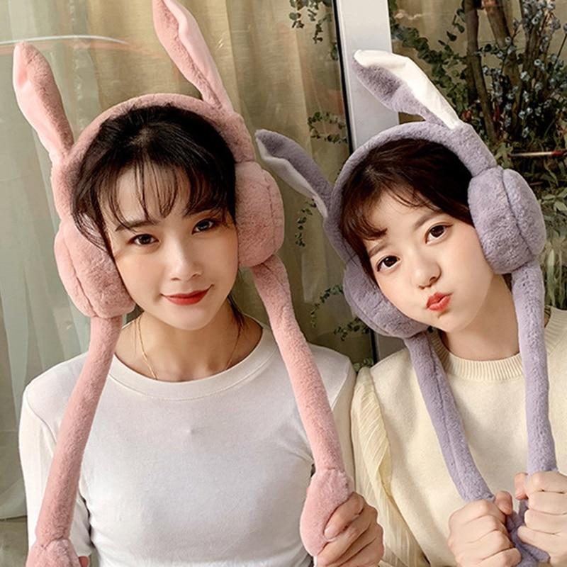 Cute Women Earmuffs Warm Can Move Airbags Cap Plush Dance Rabbit Ear Autumn Winter D88