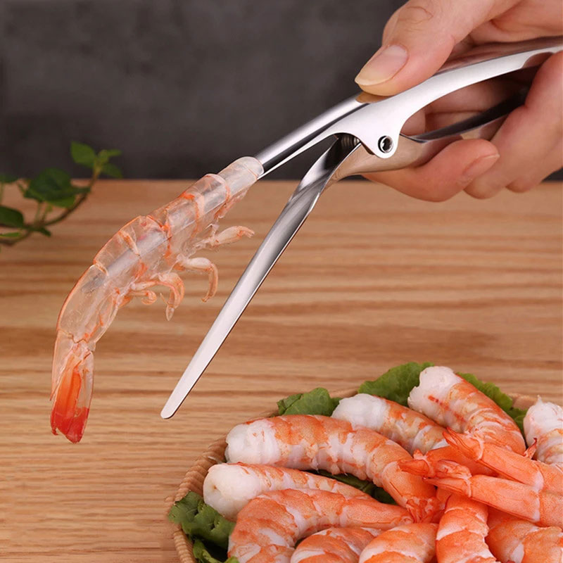 Stainless Steel Shrimp Peeler Prawn Shrimp Deveiner Fishing Knife Lobster Shell Remover Peel Device Kitchen Seafood Tools