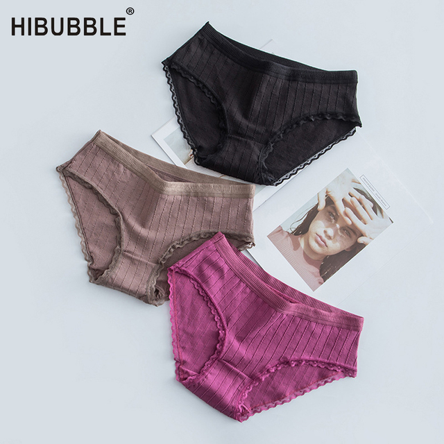 Women Cotton Briefs Lace Side Underwear Women Elastic Panties Mid Rise Sexy Panties Underwear Antibacterial Pants Culotte Femme