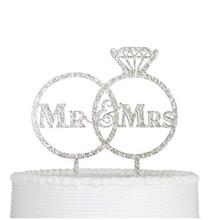 Акриловые блестки серебро жених торт Топпер Mr Mrs знак топперы на свадебный торт вечерние украшения