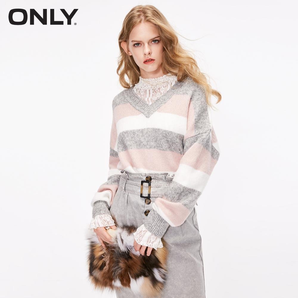 ONLY Autumn Winter Women's Loose Fit V-neckline Striped Pullover Knit Sweater | 119113539