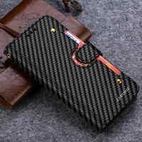 Carbon Fiber Leather Wallet Case For Samsung Galaxy S10 S8 S9 Plus S7 edge Luxury Purse Card Holder Kickstand Protective Cover