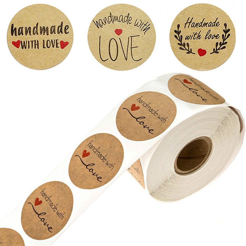 Love Labels Craft Gift Stickers M6P0 500pcs//roll Round Thank You Hand Made W