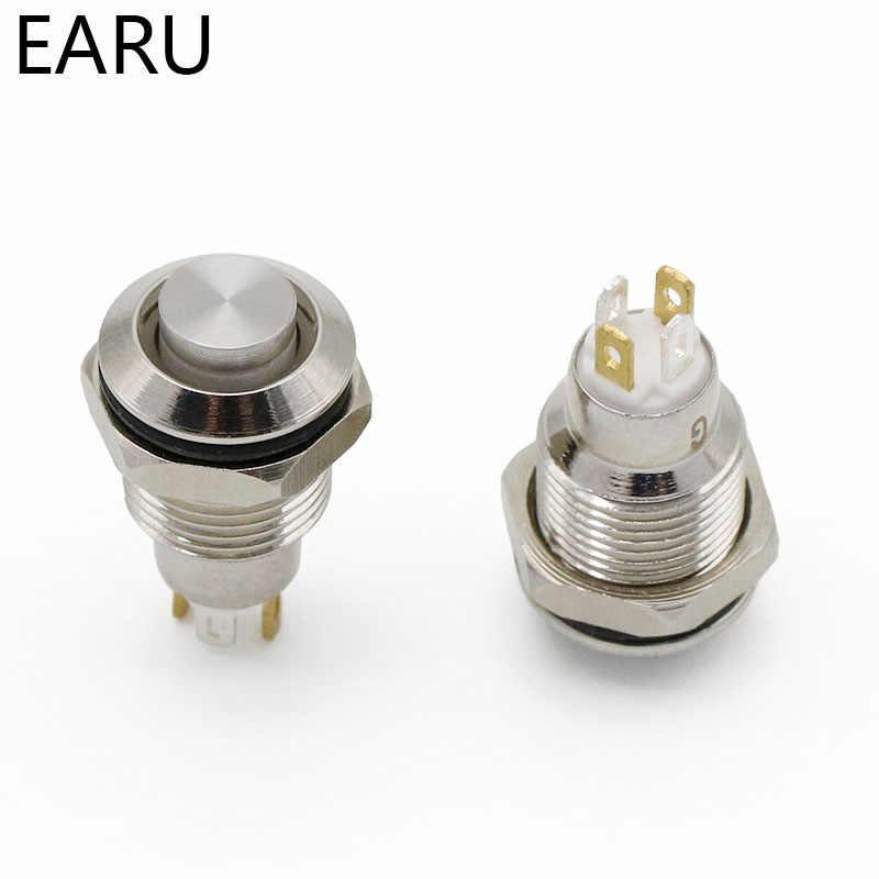 10 มม.หัวโลหะ Push ปุ่มสวิทช์หลอดไฟ LED Fixation Latching ล็อคชั่วขณะรีเซ็ต PC Power Car Auto เครื่องยนต์