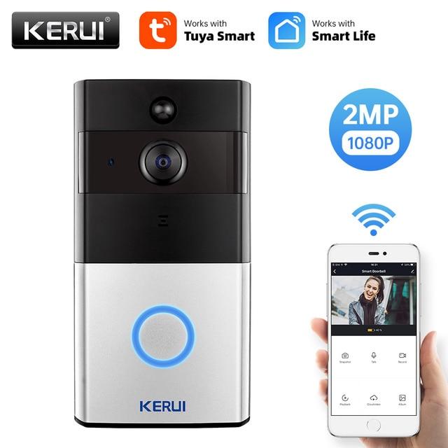 KERUI 1080P Tuya Smart WiFi Doorbell 2MP Camera Outdoor Wireless Video Intercom Smart Life Home Security Door Bell Chime 1