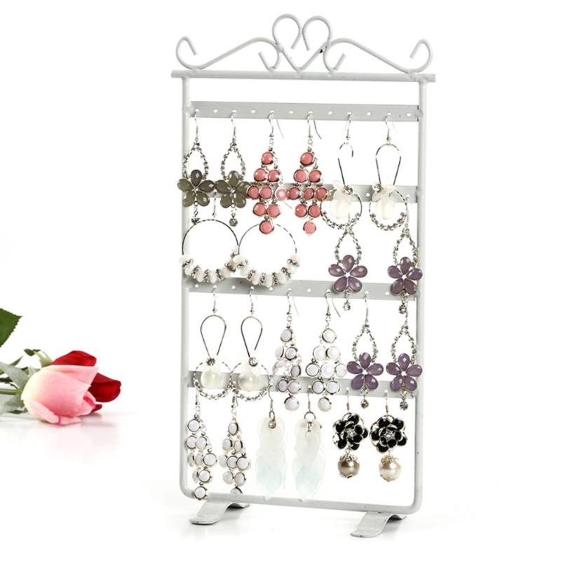 48 Holes Jewelry Organizer Stand Studs Earrings Display Rack Metal Iron Bracelet Fashion Earrings Display Rack