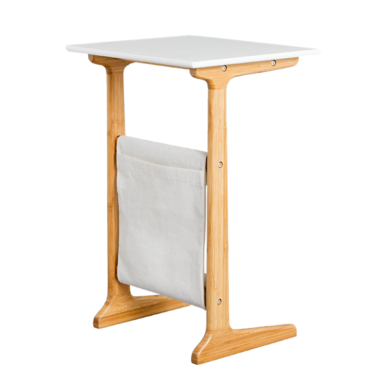 M8 Natural Bamboo Coffee Table Tea Table Wood Plastic Coffee Table Desk Leisure Magazine Storage Rack Table with Bag