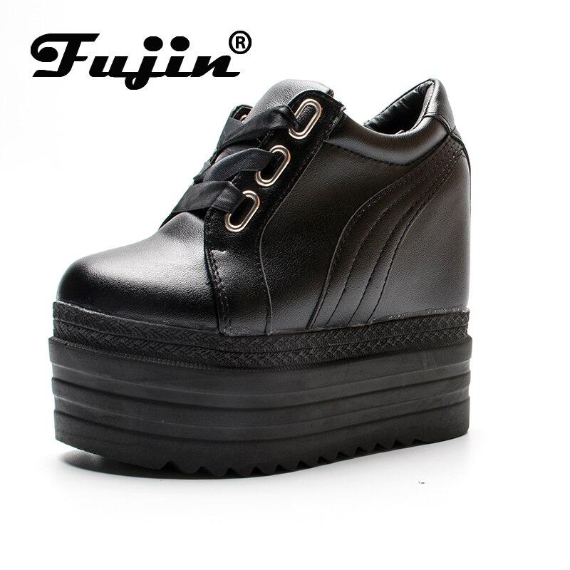 Fujin Platform Flat Shoes 6.5 CM high heel Women Creeper Fashion Ladies For Sneakers