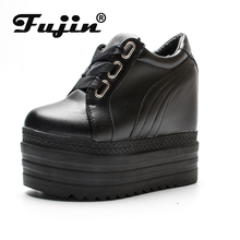 Fujin Platform Flat Shoes 6.5 CM high heel Women Creeper Fashion Ladies For Sneakers