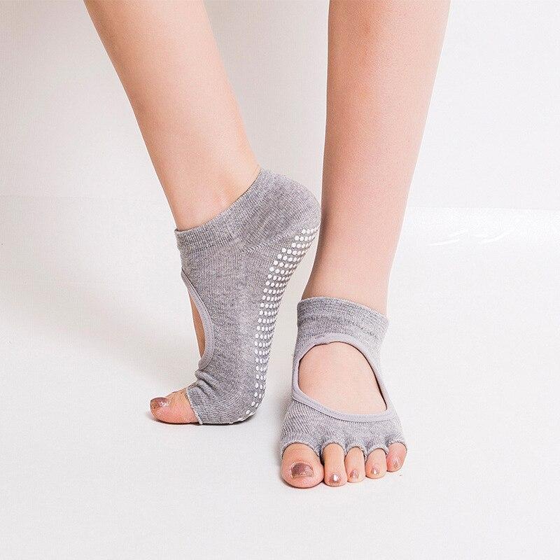 New Women Yoga Socks Anti-slip Five Fingers Backless Silicone Non-slip 5 Toe Sock Ballet Gym Fitness Sports Comfort Cotton Socks