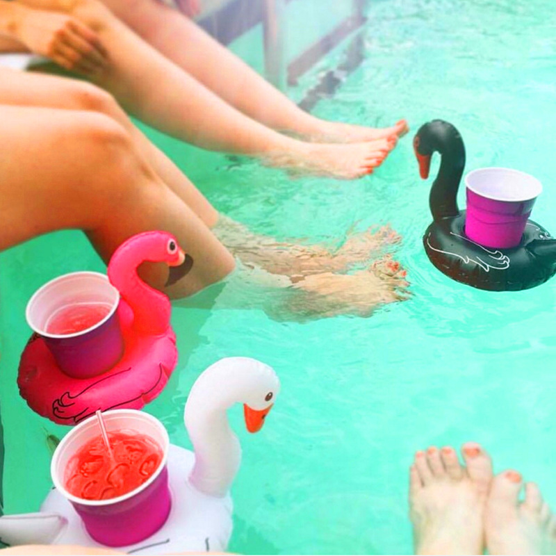 Mini Black Pink Swan Shape Inflatable Water Swimming Pool Drink Cup Stand Holder Float Toy Coasters For Beverage Beer Bottle