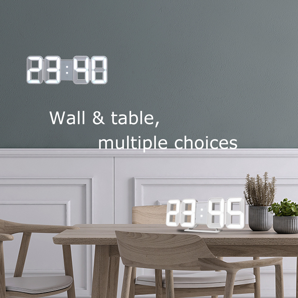 3D LED Wall Clock Large Digital Wall Clock Electronic Big Number Modern Table Desk Alarm Watch Backlight Temperature Clocks