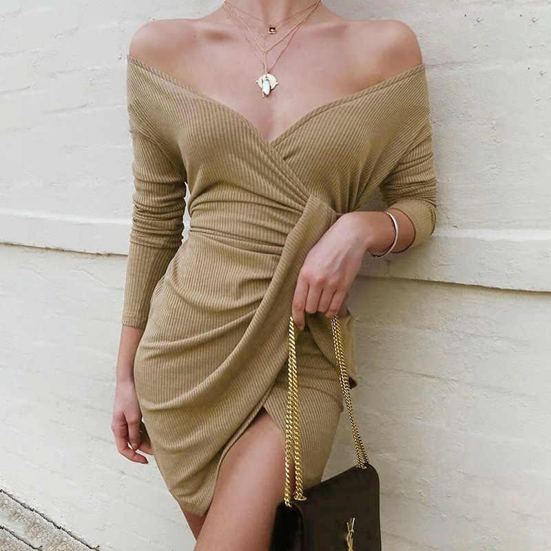 2019 liebsten Frauen Kleid Bodycon Wrap Kleid Langarm Hohe Schlitz Herbst Winter Sexy Party Kleid Vestidos De Festa