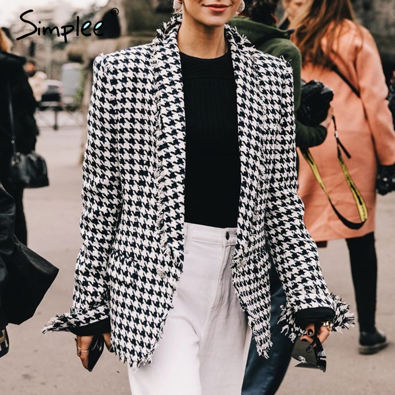 Simplee Vintage Houndstooth Women Blazer Double Breasted Autumn Winter Female Blazers Coat Elegant Office Ladies Blazers Jackets
