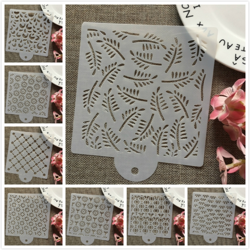8Pcs/Set 15cm Flower Leaves DIY Layering Stencils Wall Painting Scrapbook Coloring Embossing Album Decorative Card Template