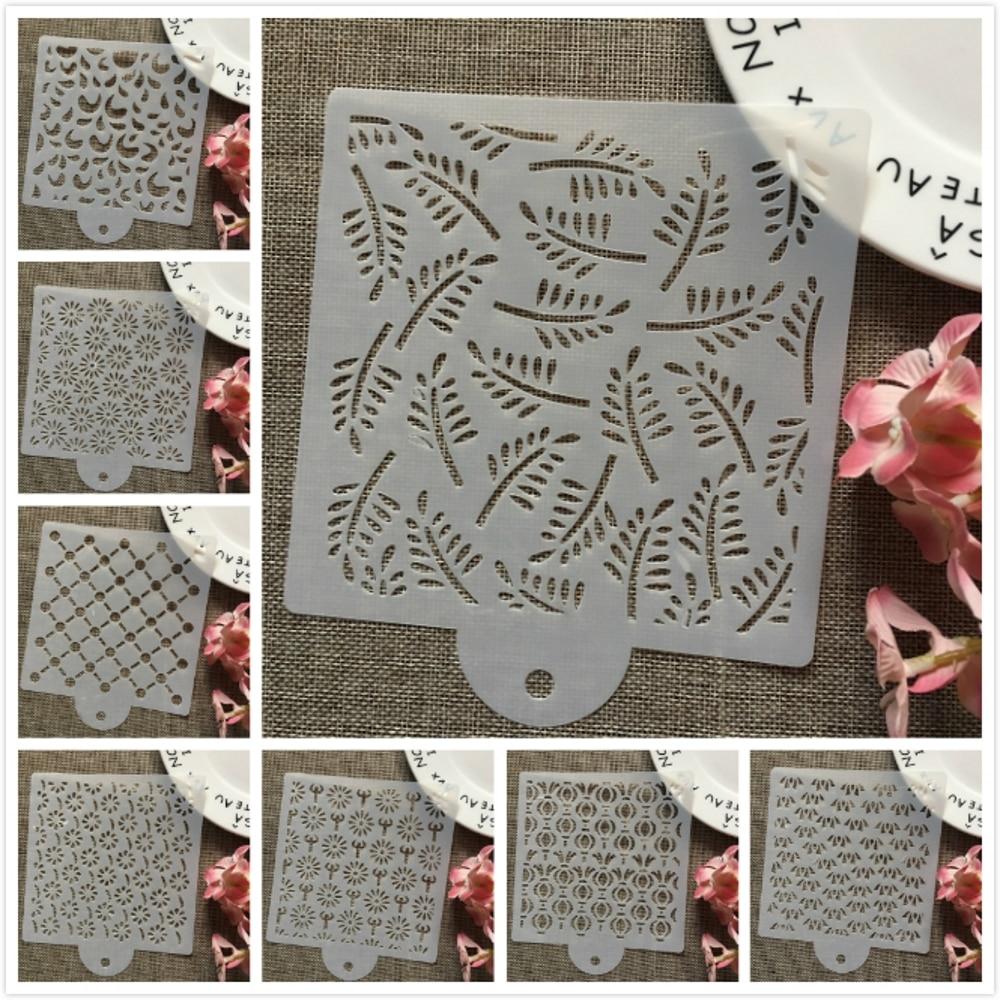 8Pcs/Set 15cm Flower Leaves DIY Layering Stencils Wall Painting Scrapbook Coloring Embossing Album Decorative Card Template