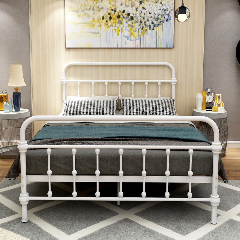 Simple Nordic INS-Style Bed & Breakfast Apartment Metal Bed Employee Single Person Double Dormitory Iron Bed 1.2 M 1.5m
