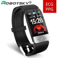 Q1S pulsera inteligente ECG + PPG Seguimiento de la aptitud ritmo cardíaco presión arterial IP67 impermeable pronóstico del tiempo deportes reloj de banda inteligente