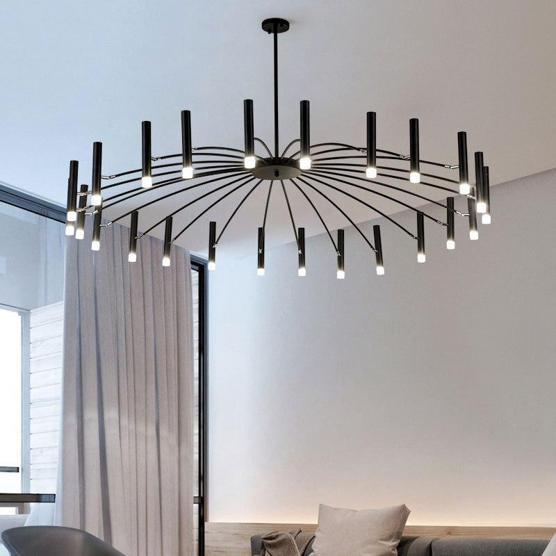 Nordique moderne mode LED lustre lumière lampe avec Blub pour salon loft chambre salle à manger G9 110V 220V noir