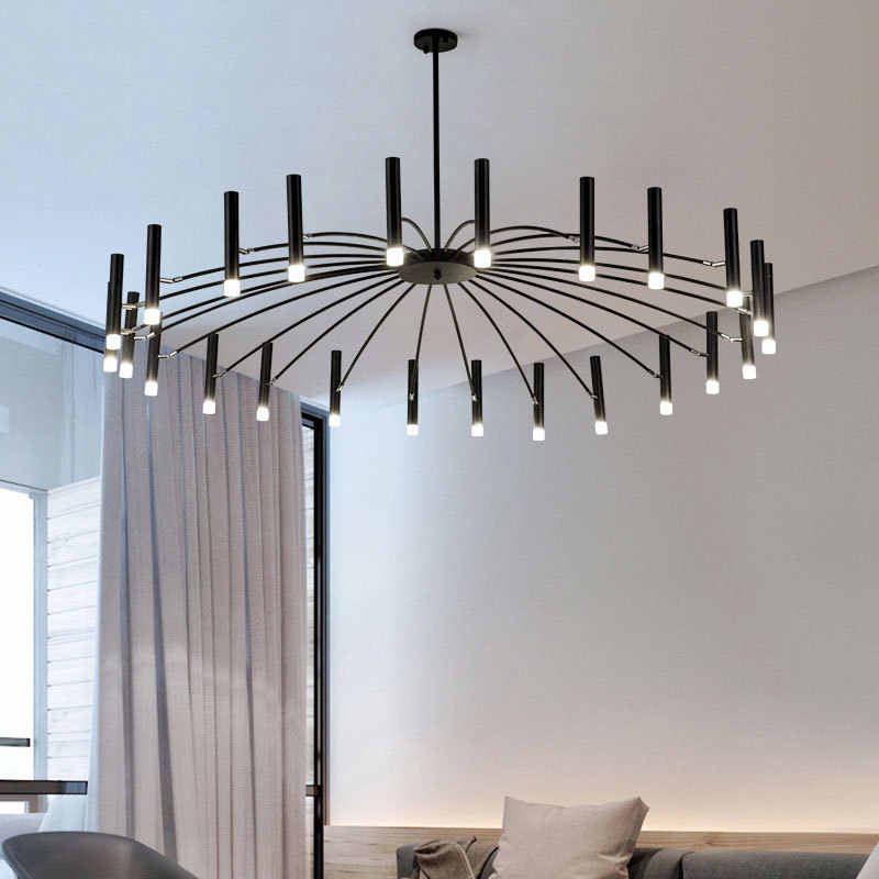 Nordic Modern Fashion LED Chandelier Light Lamp with Blub for living room loft Bedroom dining room G9 110V 220V Black