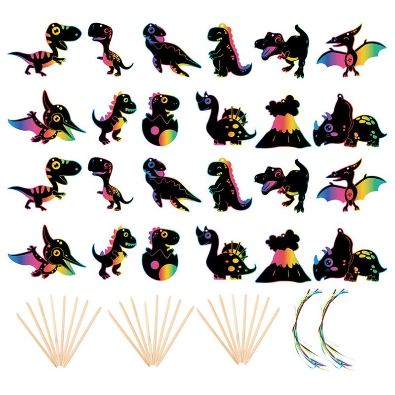 2 Sets Children Dinosaur Scratch Paper Hanging Craft With Wooden Stick Ribbon Children'S Dinosaur Colorful Scratch Painting