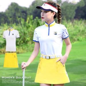 Maglietta delle donne 2019 Nuovo Abbigliamento Da Golf Uniforme Della Squadra di Golf Vestiti di Estate Camicia A Maniche Corte del Pannello Esterno delle Donne Set di Sport All'aria Aperta vestito
