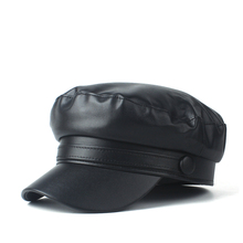 Baseball-Hat Real-Leather Women Casual Size-56-58cm Wild Travel Autumn Outdoor Vintage