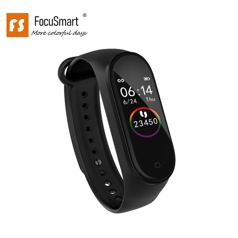 FocuSmart 2019 Pulseiras Inteligentes ECG VFC M4s TPU Rastreador De Fitness Heart Rate Monitor de Pressão Arterial Inteligente Pulseira Para IOS/ android