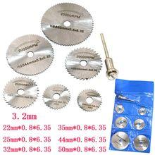 7 adet/takım mini yüksek hızlı çelik testere Web dairesel döner kesme bıçağı tekerlek diskleri Mandrel elektrikli taşlama aksesuarları