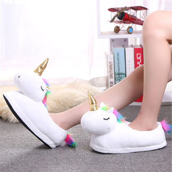 Women Winter Warm Indoor Fur Slides Slippers Cute Cartoon Plush Unicorn Slippers For Men White furry Unisex Home House Slippers winter cartoon indoor warm plush santa slippers women men children s christmas style home slipper fit christmas gifts