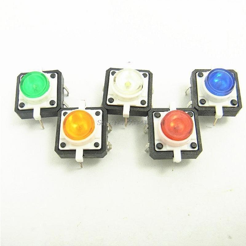 10 шт. переключатель с подсветкой 12x12x7,3 мм светодиодный кнопочный переключатель мгновенный светодиодный зеленый красный оранжевый синий