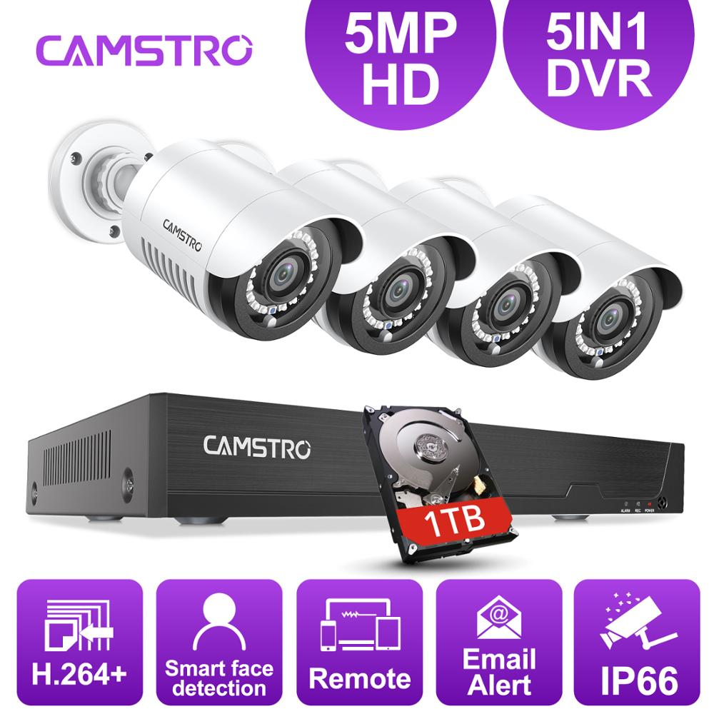 Camstro 5MP-N CCTV Security Camera System With 5-in-1 5MP-N H.264+ DVR 4PCS 5MP Indoor/Outdoor Security Cameras  CCTV Kit