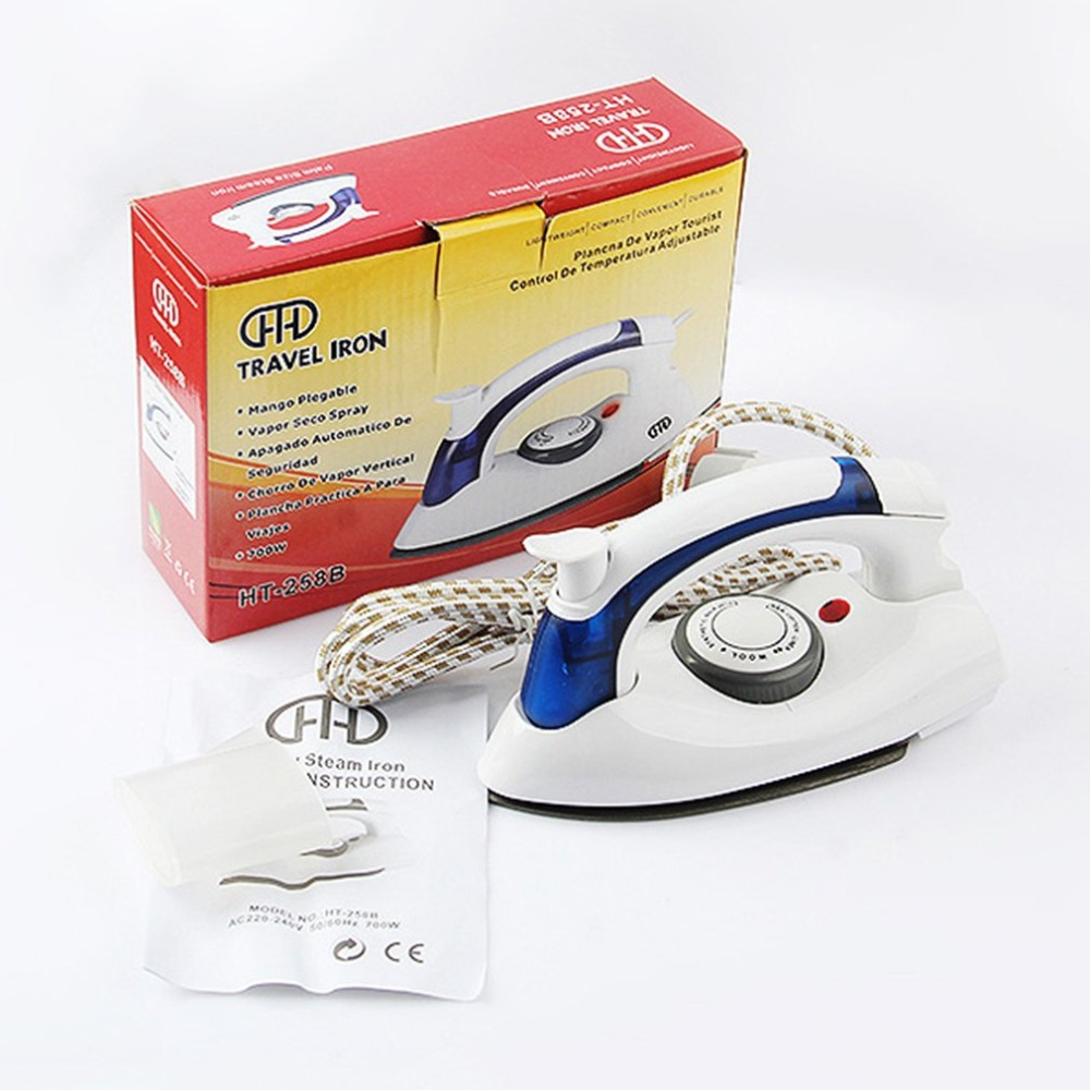 700W Portable Compact Size Foldable Handle Electric Steam Iron Baseplate Steam Iron Handheld Home Travel Use