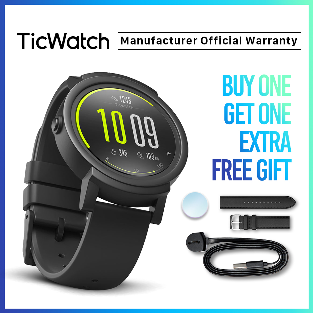 TicWatch E Shadow Black <font><b>Smart</b></font> <font><b>Watch</b></font> Bluetooth GPS Sport <font><b>Watch</b></font> Android&iOS compatible Google Play IP67 Waterproof Mobvoi Original image