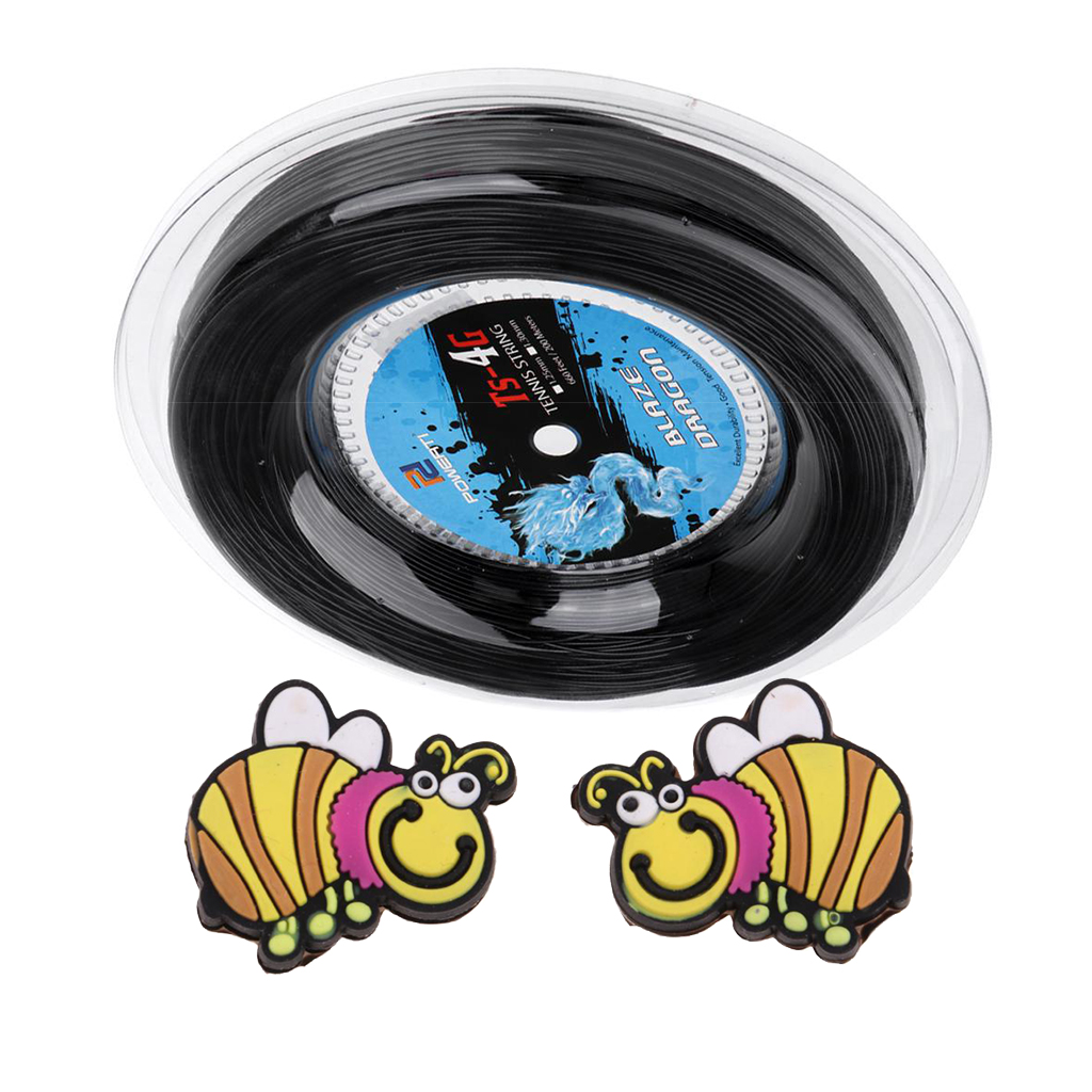 1.25mm Tennis String Replacement 200m/Roll With 2 Pack Tennis Racket Vibration Dampener Damper