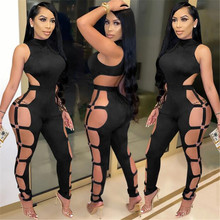 Fashion Women Long Sleeve Hollow Out Jumpsuit Ring Decor Sexy Slim Bodycon Rompers Plus Size Jumpsuit Clubwear Trousers S-2XL