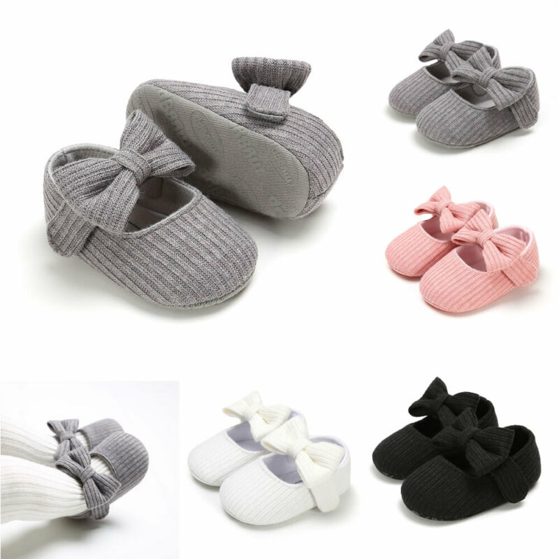 Spring Autumn New Infant Baby Girl Shoes Fashion Princess Shoes Kids Children 0-18M Casual Shoes Bowknot Knitt Fabric Lovely