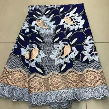 New coming batik wax lace cloth embroidery African real wax cloth with cord lace for party dress ZQL8(6yards/lot)