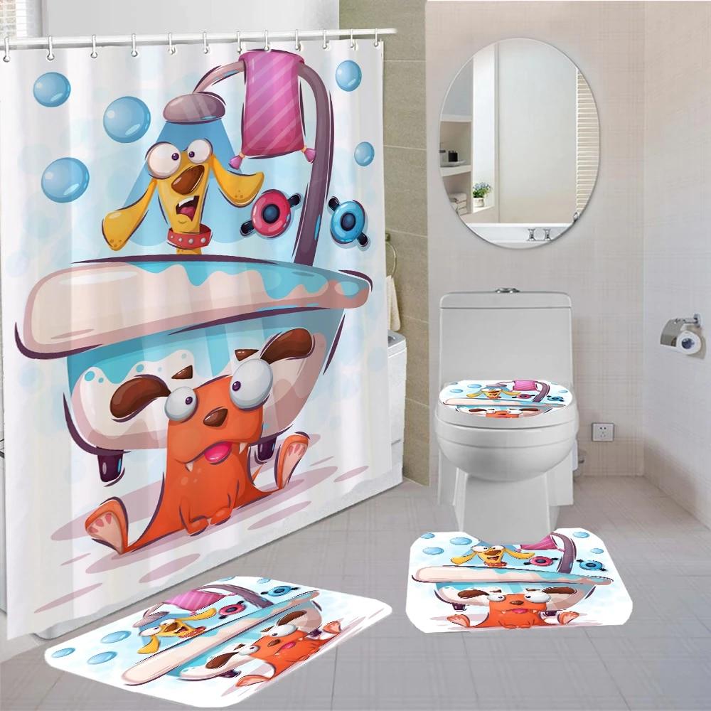 4 pieces curtains cute cartoon shower curtain animal kids bath sets 3d printing bathroom comfortable and soft shower curtain set