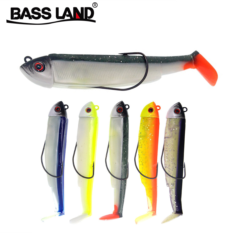 Bassland 2PCS Black Minnow Fish Head Hook And Soft Lure Sea Fishing Pike Lures Lead Hook Bait Iscas Artificial Leurre Silicone