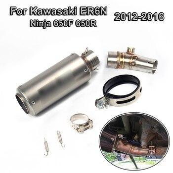 Motorcycle Exhaust Muffler Tips Mid Connect Link Pipe Short for Kawasaki ER6N Ninja 650F 650R 2012-2016 13 14 15