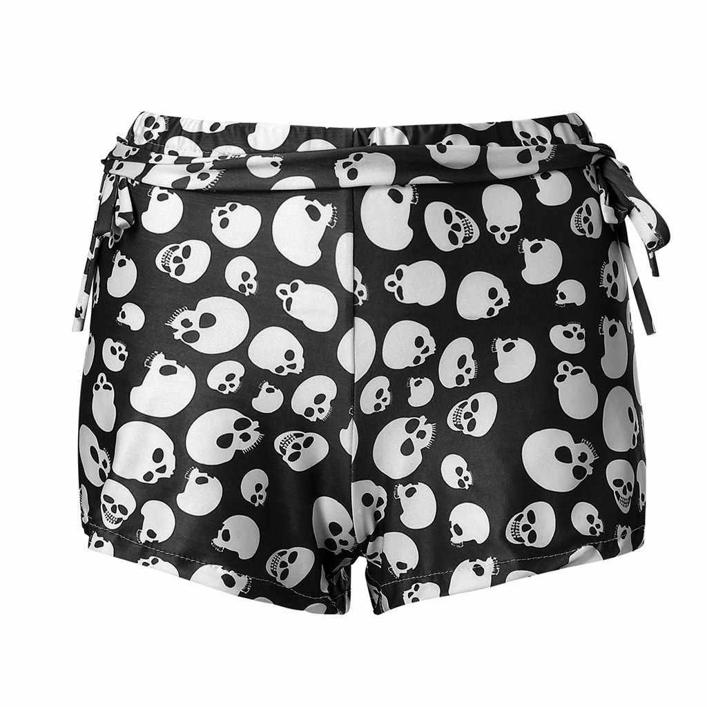 Bloem Schedel Shorts Black Gothic Print Zomer Sexy Dames Casual Feminino Shorts Streetwear Hoge Taille Shorts Vrouwen
