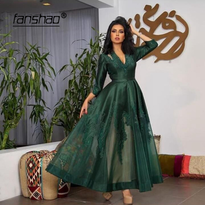 Dark Green Muslim Evening Dresses V-Neck Appliques Illusion Dubai Saudi Arabic Evening Gown Prom Dress