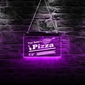 Authentique italien Pizza Shop LED acrylique enseigne nom personnalisé Pizza signe éclairage décor Art personnalisé Pizzeria LED enseigne au néon(China)