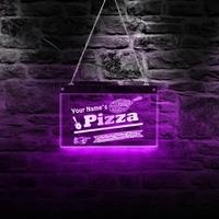 Authentic Italian Pizza Shop LED Acrylic Signboard Custom Name Pizza Sign Lighting Decor Art Personalized Pizzeria LED Neon Sign
