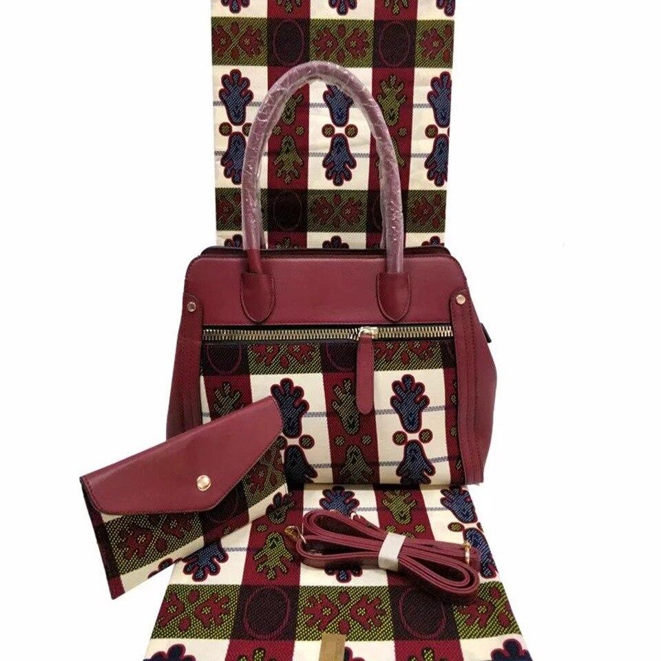 3 pièces ensemble sac à main imprimé blanc marron africain + pochette et pinte de cire africaine tissu Kitenge/Pagnes/Kikwembe YBGB-23
