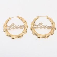 Hiphop Custom Name Earrings Bling Name Bamboo Snake Hoop Earrings Love Shape Customize Earrings Stainless Steel Bamboo Earrings