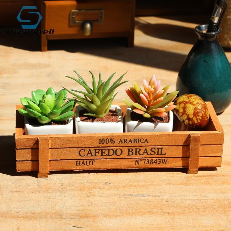 Strongwell Retro Wood Flowerpot Garden Plant Pot Planter Window Box Trough Pot Succulent Flower Plant Pot Garden Supplies